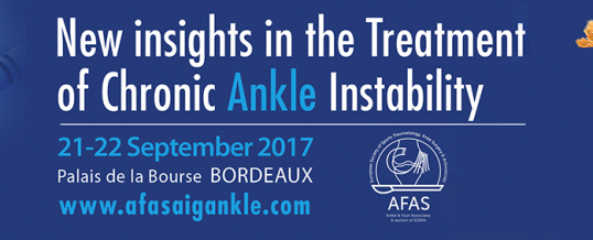 New insights in the Treatment of Chronic Ankle Instability, 21-22 September in Bordeaux, France